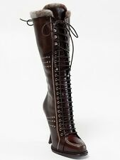 New Christian Dior Montagne Chocolate Hand Made Leather Boots 35.5 US 5.5