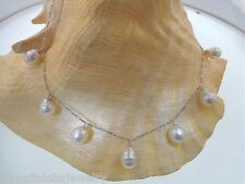 """Graduated Dangling South Seas White Pearl 14k White Gold Figaro Necklace 16"""""""