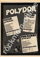 Focus Alquin Pink Fairies Intercon Club, Hull MM3 LP/Tour advert 1973
