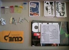 6 Tokens, 2 dice, 8 weapons, cards and pad from CLUE Discover the Secrets