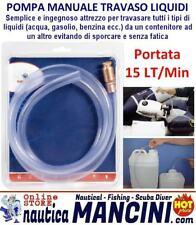 POMPA MANUALE TRAVASO LIQUIDI CARBURANTE BENZINA GASOLIO D.19 PORTATA 15 LT/MIN