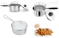 Chip Pan Basket Stainless Steel Chip Pan With Lid Fryer Fries 20/22cm Dishwasher