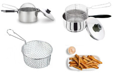 Chip Pan Basket Stainless Steel OR Chip Pan With Basket Lid Fryer Fries 20/22cm