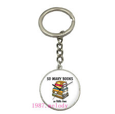 Vintage Glass Cabochon silver Matal Car Key chain ring pendant:quotes clock