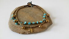 Bell Anklet Added Fish Charm Handmade Double Line Turquoise Brass Small