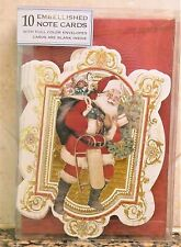 PUNCH Studio CHRISTMAS SANTA Christmas Cards Box 10  EMBELLISHED