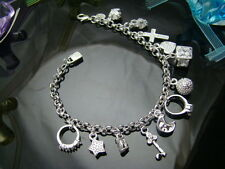 "925Sterling Silver Jewelry Heart Cross Moon 13 Charms Pendant Bracelet 8"" FH144"