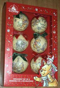 Disney Store Winnie the Pooh Baubles set of 6 Christmas ornaments Eeyore Piglet