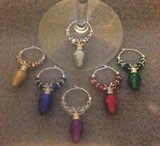 Christmas glittery light bulb wine glass charms set of 6