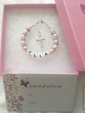 Girl Personalised Name Bracelet Christening Baptism Holy Communion Gift Box