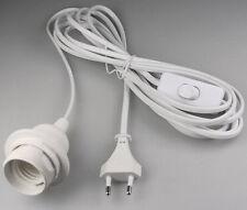 Kabel mit Fassung Lampenfassung weiß E27 3,5m Zuleitung + Schalter mit Stecker