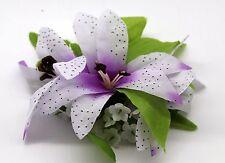 Hawaii Hair Clip Lei Party Luau Flower Dance Beach Photo Tiger Lily Purple Heart