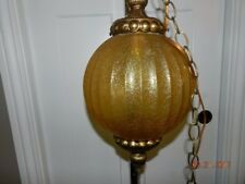 Vintage Amber Crackle Glass Swag Hanging Orb Globe Light Ornate Lamp pull chain