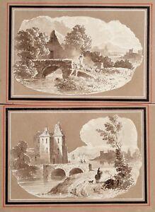 1830 Flemish Master Johannes van Acker Pair of Topographical Etudes in Sepia Ink
