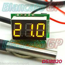 MINI TERMOMETRO DIGITALE -55° 125°C LED GIALLO DS18B20 SONDA WATERPROOF auto DC