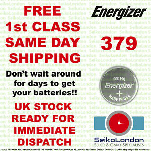 1X Energizer 379, AG-0, SR521SW, LR521, 1.55v Watch Battery FAST!!