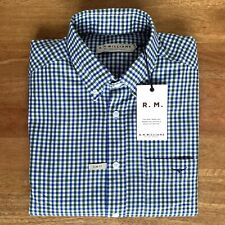 RM Williams Mens Jervis Shirt Size M Slim RRP$119.00 Blue Green