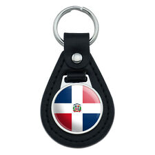 The Dominican Republic National Country Flag Black Leather Keychain