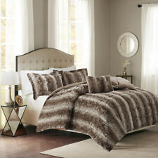 Super Deluxe Grey Brown Silky Chinchilla Faux Fur Comforter Set 4 pcs King Queen