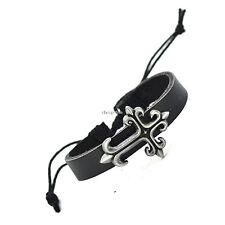 Punk/Goth/Rock/Biker Adjustable Black Genuine Leather Celtic Cross Bracelet