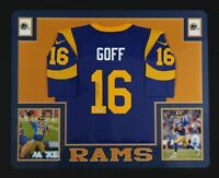 0b419ea0922 Jared Goff Autographed Los Angeles Rams Nike Game Blue Framed Jersey PSA DNA