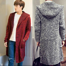 Men Casual Pullover Sweater Coats Hooded Long Jumpers Cardigans Jackets Outwear Red M