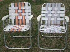 2 Vintage Mid Century Aluminum Chair Folding Lawn Patio Pair Multi Color Webbing