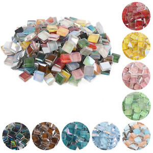 100g Mixed Color Glass Square Mosaic Tiles Iridescent DIY Craft Accessories