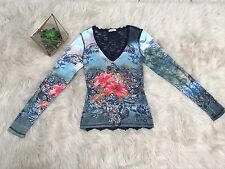 Cache Henley Top Shirt Floral Print Sequins Lace Back Long Sleeve Size XS