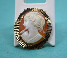 Vintage Ladies shell cameo brooch Girls head 9 ct gold W.J.P Birmingham. 1973