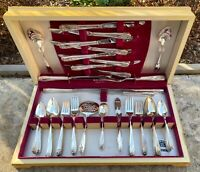 (72) piece 1847 Rogers IS Daffodil Flatware Silverware Set Carving Set Extras