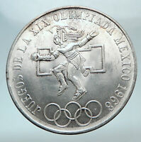 1968 Mexico XIX Olympic Games Aztec Ball Player BIG 25 Pesos Silver Coin i80757