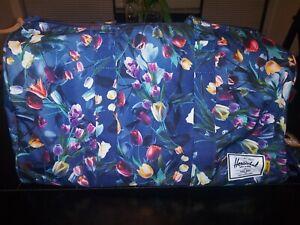 Herschel Supply Co. Hoffman Duffle Shoe Compartment Navy Blue flowers MSRP $110