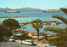 Cie Gle Transatlantique CGT French Line FRANCE in Cannes with Cunard QUEEN MARY