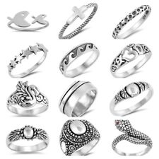 NEW! 925 SILVER DESIGNS- STAR, SPINNER, SWAN, SNAKE, WAVE, OM, CROSS, FISH RINGS