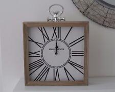 Large Vintage Square Wooden Silver Mantel Mantle Clock Kensington London