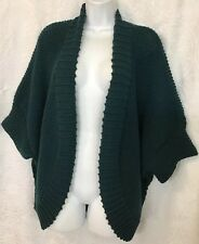 Les Copains Cardigan Sweater Forest Green Cable Knit Elbow Sleeve Wool Size S