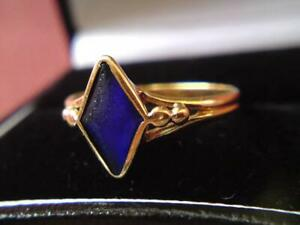 Antique Victorian 22ct Gold Synthetic Sapphire Ring London Hallmark 1882 // 2.3g