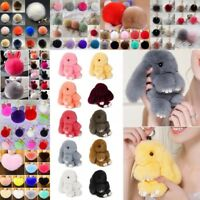 Lost Rabbit Fur Fluffy Ball Bow PomPom Charm Car Handbag Key Chain Ring Gift