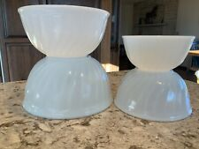 Set of 4 Vintage FireKing Glass Swirl Mixing Bowls Anchor Hocking