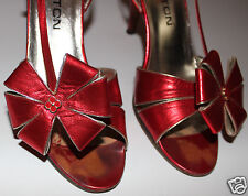 HALSTON vintage metallic red flower Holiday gift sandal heel shoes 8 N   worn