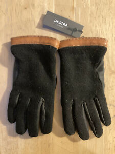 Hestra Tricot Wool Leather Gloves Black Men's Size 8 NWT
