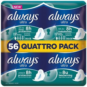 Always Ultra Normal Sanitary Towels Pads With Wings Pack of 56, 112 or 168
