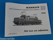 Marklin 3022 Electric Locomotive br 94 - 194    Replica booklet 0365