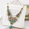 Charm Women Bronze Colorful Rhinestone Flower Choker Bib Pendant Chain Necklace