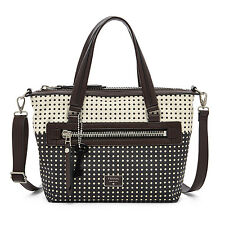 Fossil Dawson Satchel Cotton White/Black Multi Bag ZB6593935