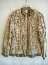 CHICO'S Brown Animal-Print Full-Zip Reversible Jacket $159 NWT sz 3 (L-XL)