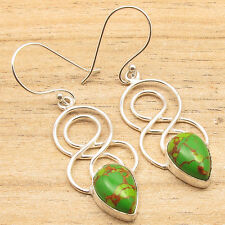 Copper Turquoise Double Swirl Earrings 925 Silver Plated Jewelry, Green
