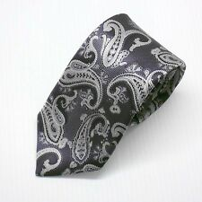 NWT Battisti Napoli Tie Silver Gray with Black Paisley woven Made in Italy