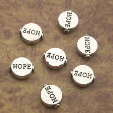"10pcs Tibetan Silve round ""hope"" Spacer bead Findings X0217"